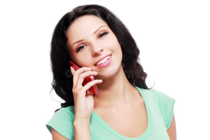 Mulher feliz do telefone imagens de stock royalty free