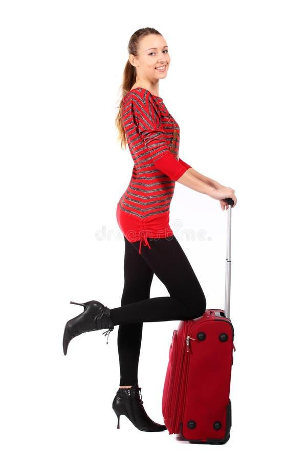 Mulher feliz do turista fotografia de stock royalty free