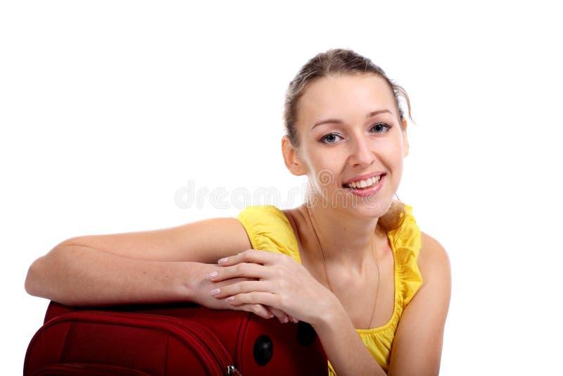 Mulher feliz do turista foto de stock