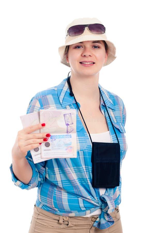Mulher feliz do viajante com passaporte fotografia de stock royalty free
