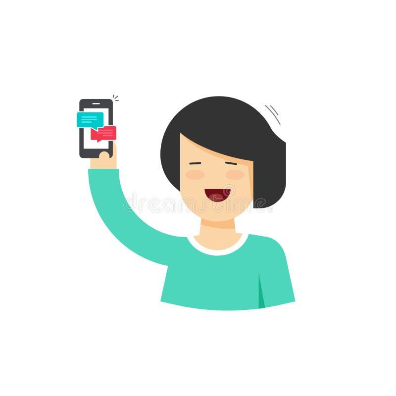 Mulher feliz dos desenhos animados que guarda o smartphone com notificações de conversa, a pessoa fêmea com telefone celular e as ilustração royalty free