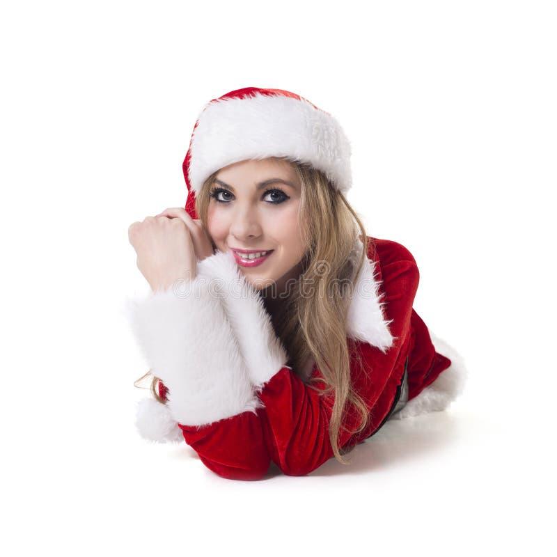 Mulher feliz em Santa Costume imagens de stock