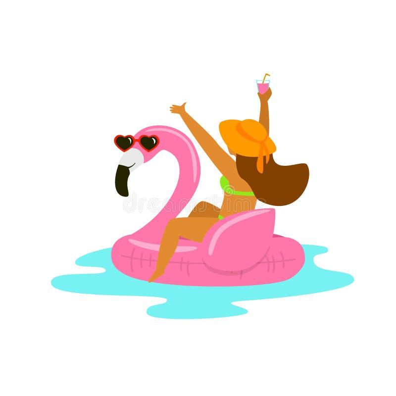 A mulher feliz em um flutuador inflável do flamingo na praia vacations ilustração stock