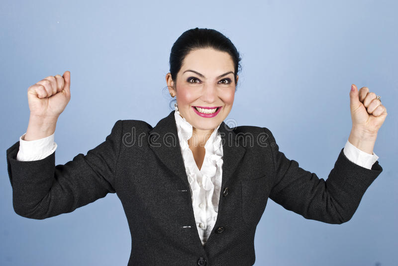 Mulher feliz: Eu ganhei! imagens de stock