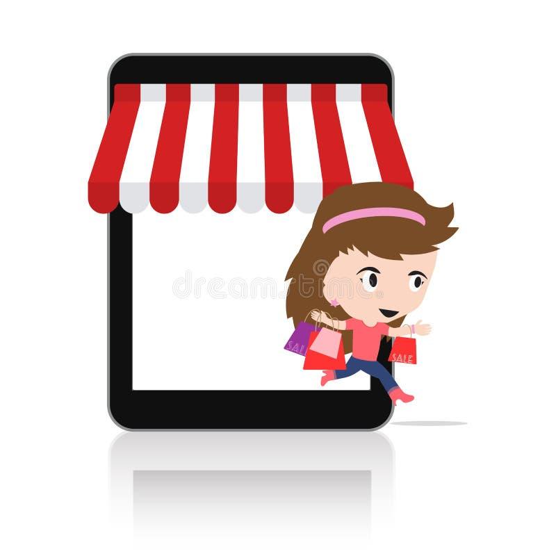 Mulher feliz fazer a compra através do conceito em linha da loja do comércio eletrônico móvel da tabuleta foto de stock