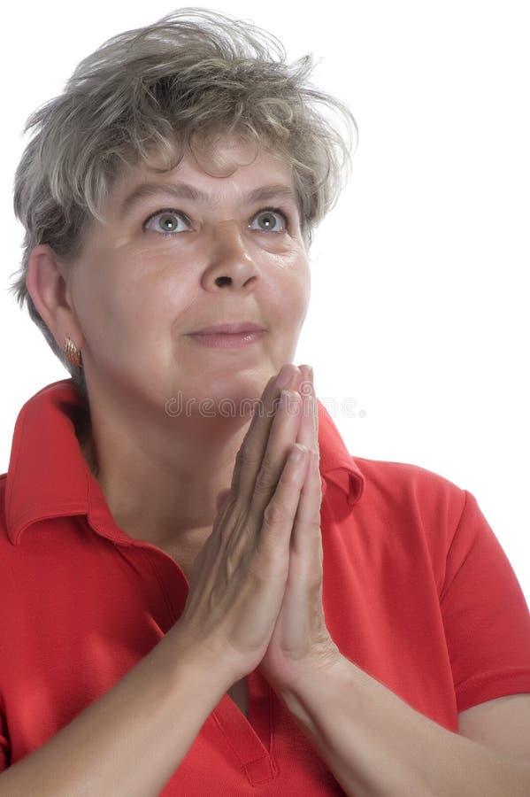 Mulher feliz isolada foto de stock