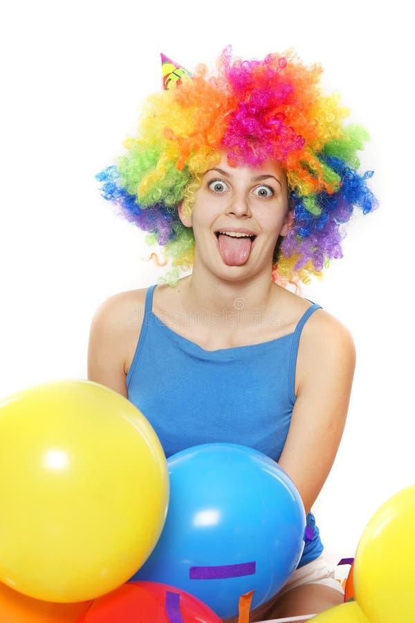 Mulher feliz louca com cabelo colorido sobre o branco imagem de stock royalty free