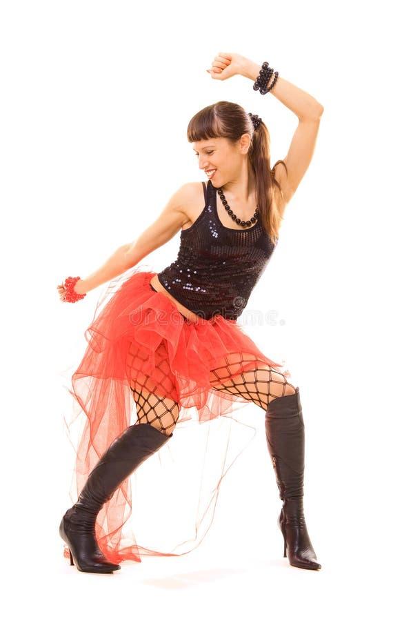 Mulher feliz na dança foto de stock