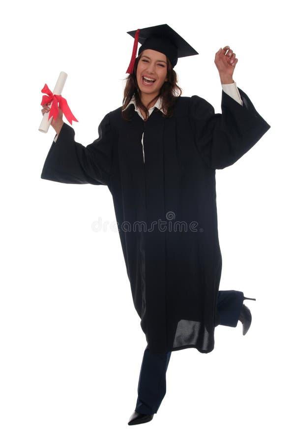 Mulher feliz na graduação fotos de stock