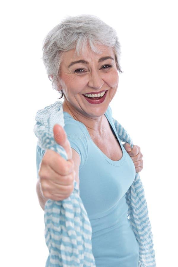 Mulher feliz na prima de vida com o polegar isolado acima no branco fotografia de stock