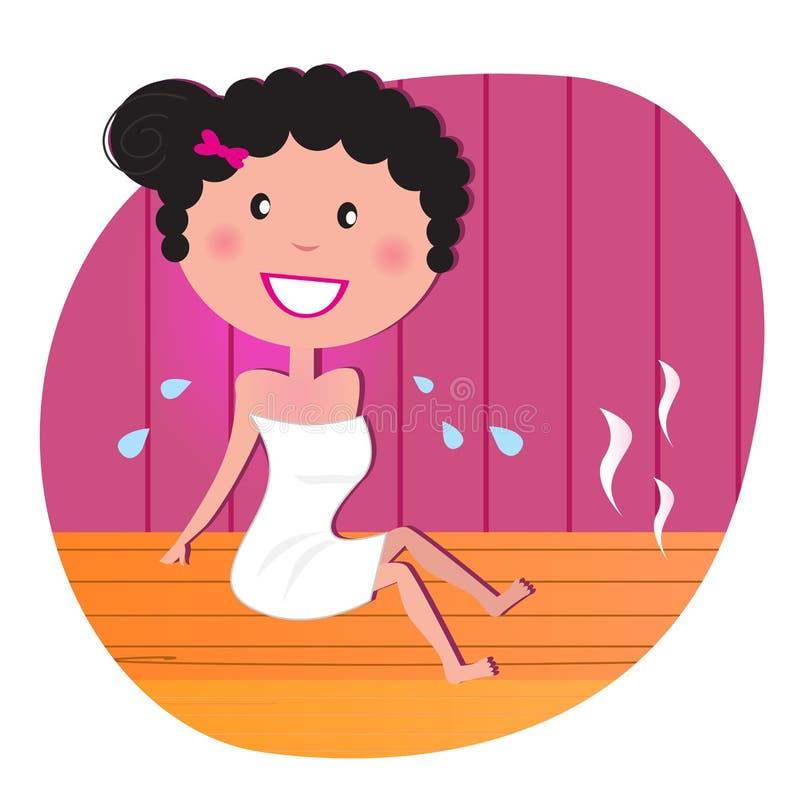 Mulher feliz na sauna infravermelha ilustração royalty free