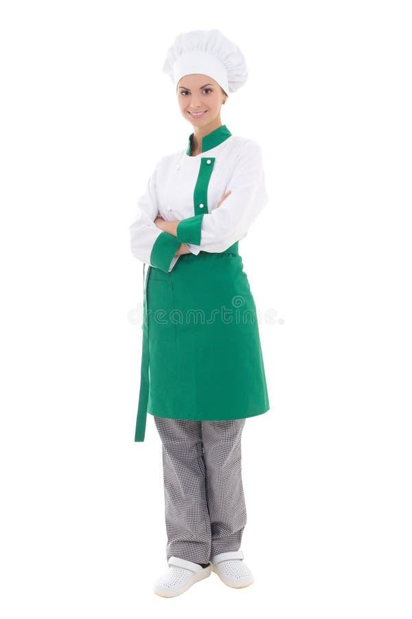 Mulher feliz nova do cozinheiro chefe no uniforme - comprimento completo isolada no whit fotografia de stock