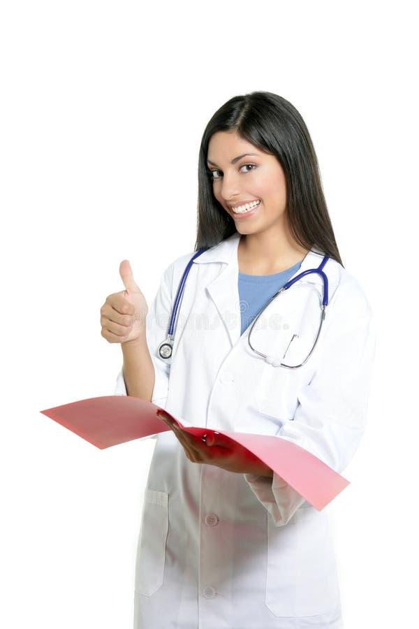 Mulher feliz nova indiana do doutor de Berautiful imagem de stock