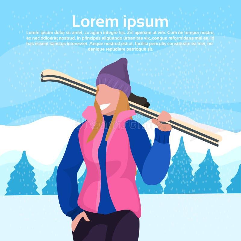 Mulher feliz que guarda da paisagem nevado da montanha da árvore de abeto do conceito da atividade das férias do inverno da menin ilustração do vetor
