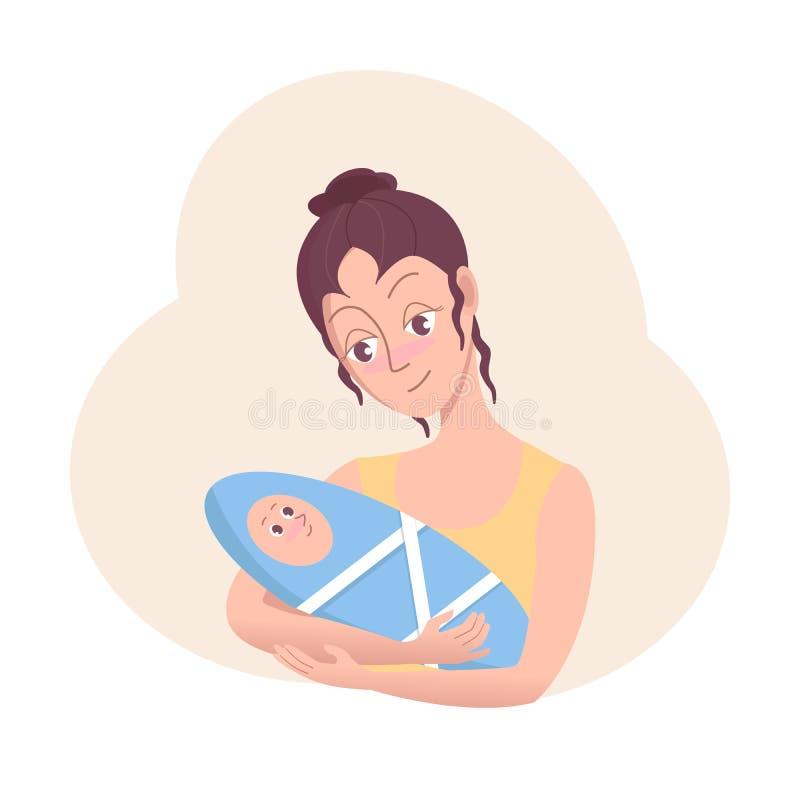 Mulher feliz que guarda um bebê recém-nascido em seus braços Ilustração dos desenhos animados do vetor no estilo liso ilustração royalty free