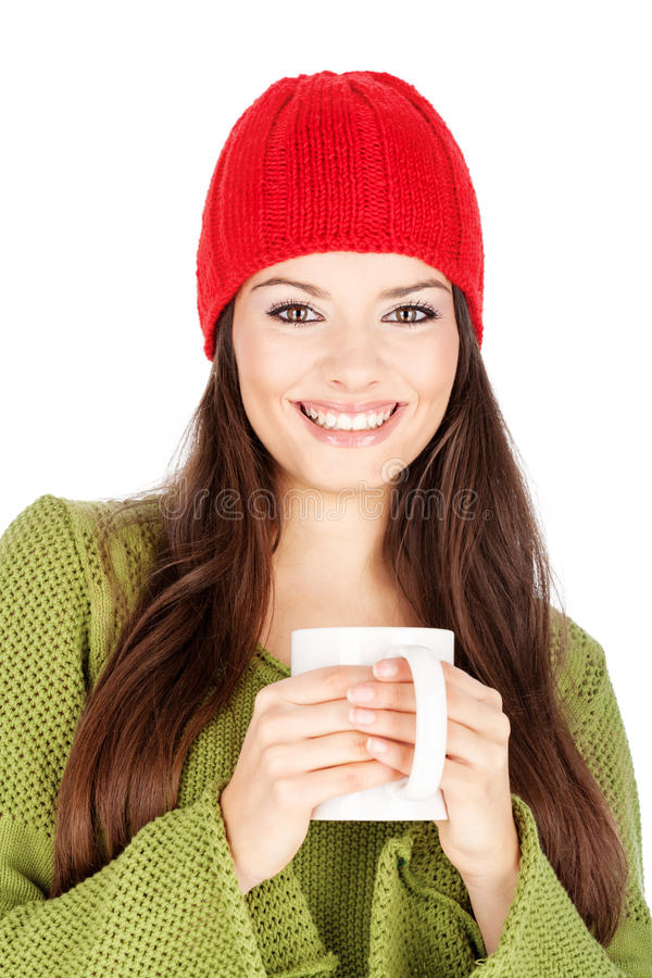 Mulher feliz que prende um teapot foto de stock royalty free