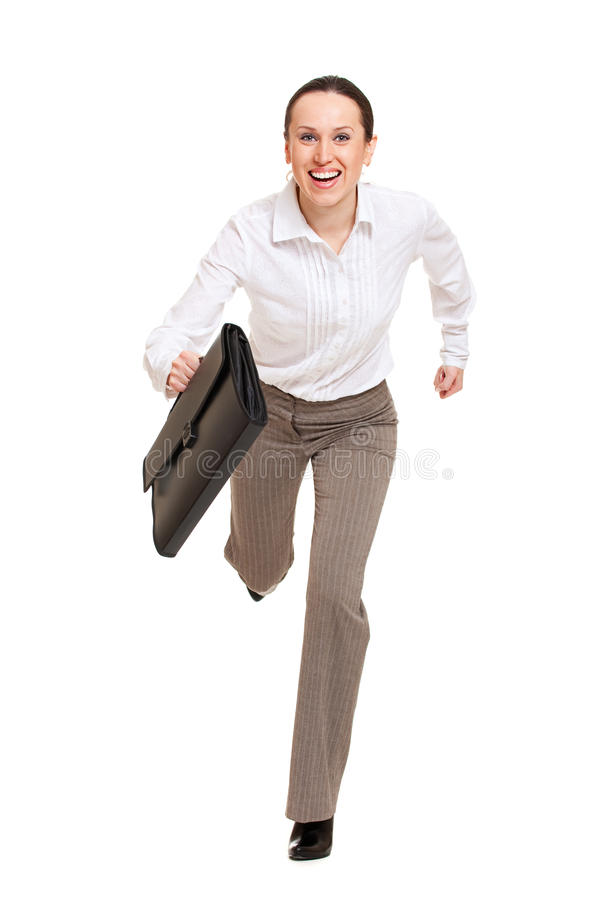 Mulher feliz que runing ao trabalho imagens de stock