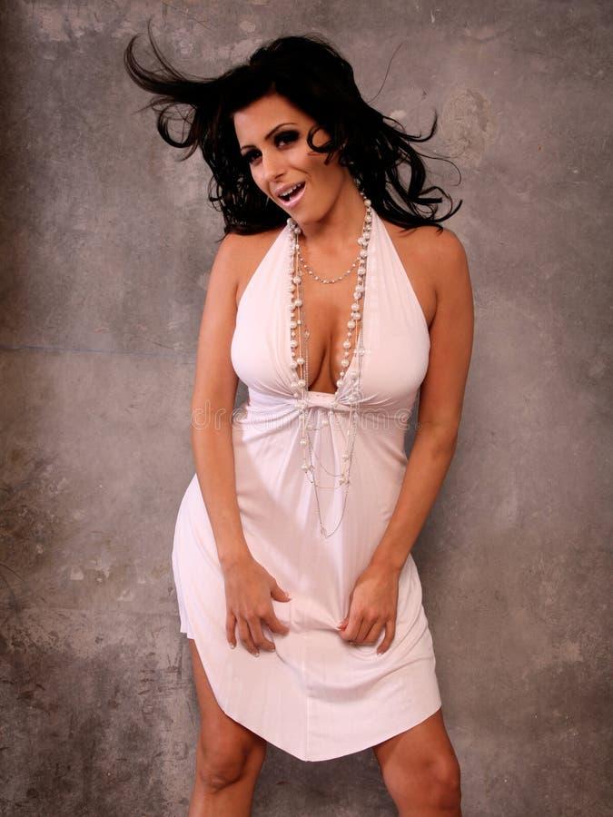 Mulher feliz 'sexy' fotografia de stock royalty free
