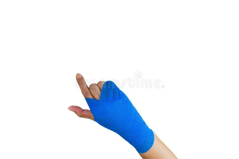mulher ferida com a atadura elástica azul disponível isolada no whit foto de stock