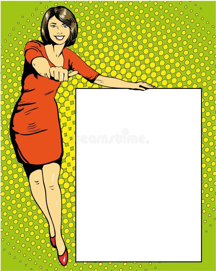 A mulher fica ao lado da placa branca vazia Ilustração retro do vetor do estilo da banda desenhada do pop art ilustração stock