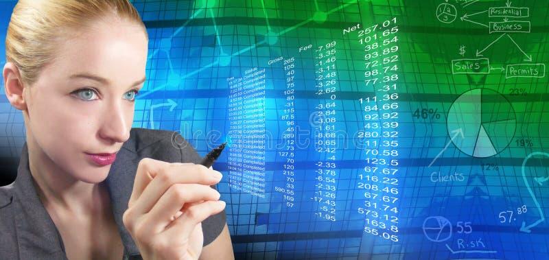 Mulher financeira e cartas abstratas imagem de stock
