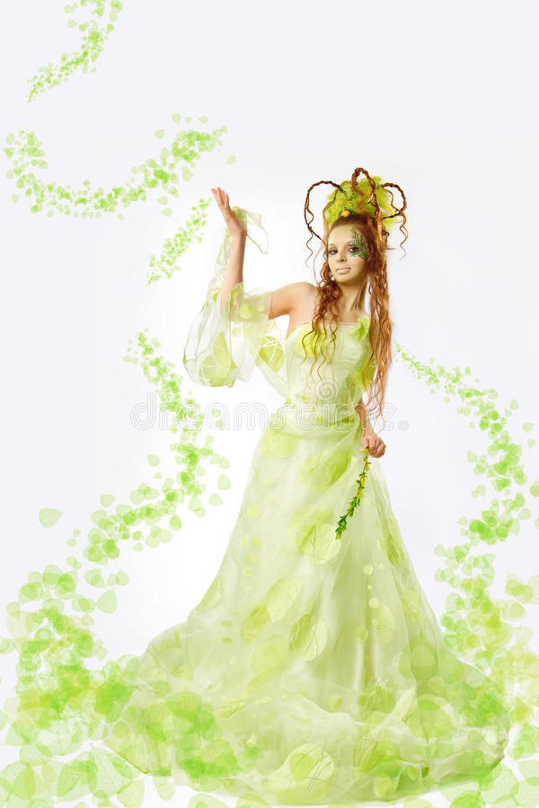 Mulher floral da mola fotografia de stock