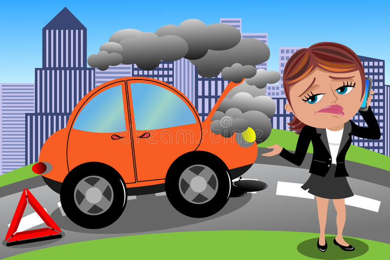 Mulher frustrante carro quebrado
