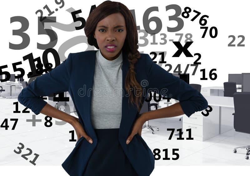 mulher frustrante que faz cálculos imagens de stock royalty free