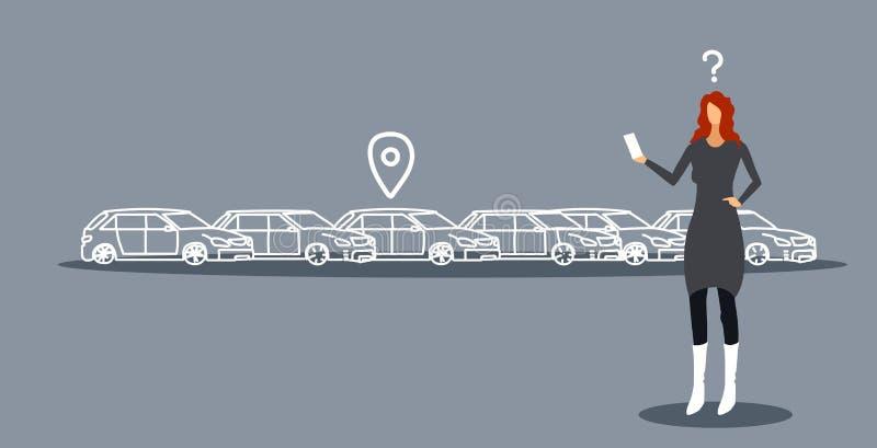 Mulher frustrante que procura o carro no estacionamento usando a mulher de negócios móvel do conceito do carsharing da aplicação  ilustração stock