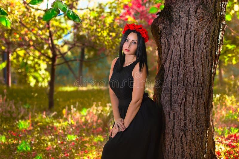 Mulher gótico no fundo da natureza do colorfull fotos de stock