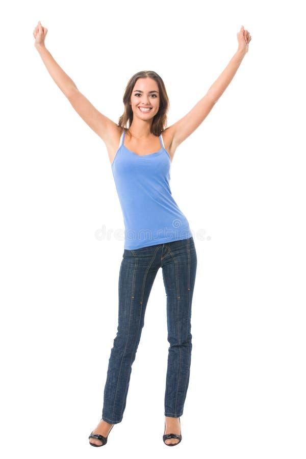 Mulher gesticulando feliz, isolada imagem de stock royalty free