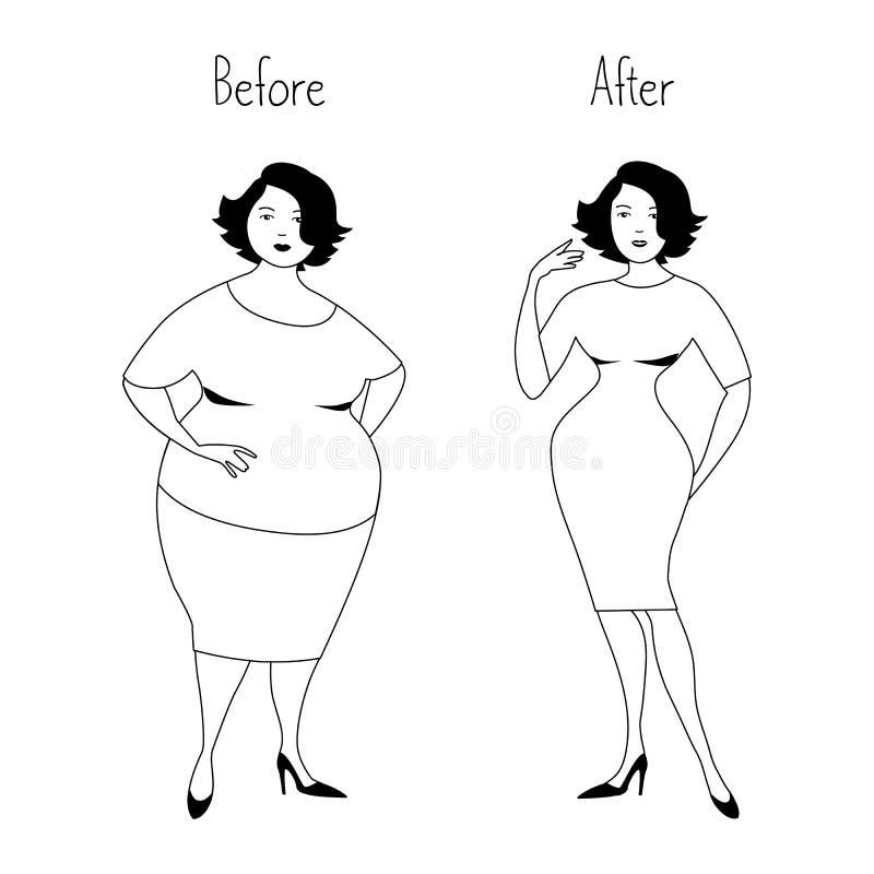 Mulher gorda antes e depois de peso perdedor ilustração royalty free