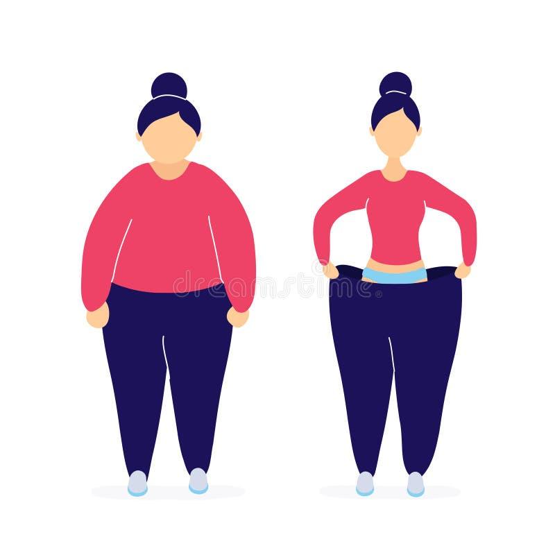 Mulher gorda e magro antes e depois da perda de peso ilustração royalty free