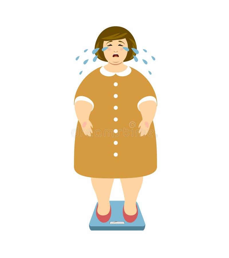 A mulher gorda grita nas escalas Ilustração do vetor ilustração royalty free