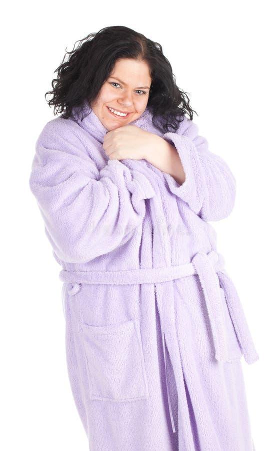 Mulher gorda no bathrobe imagens de stock