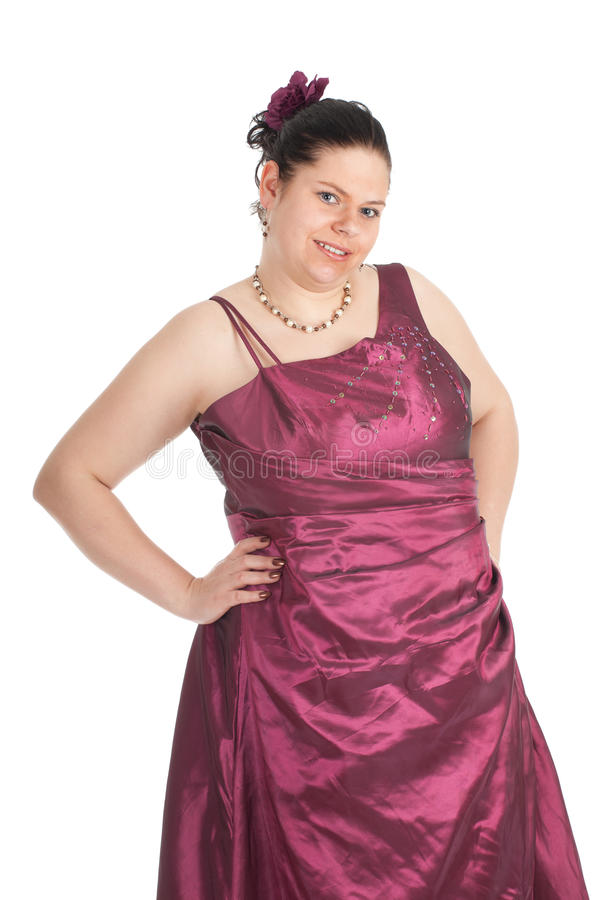 Mulher gorda no vestido de esfera imagem de stock