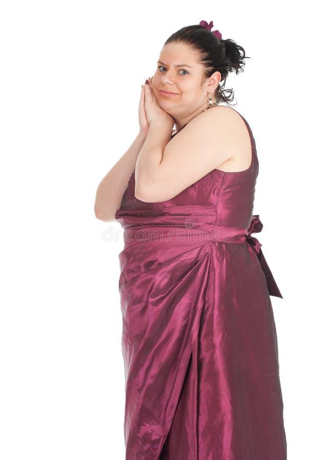 Mulher gorda no vestido de esfera foto de stock