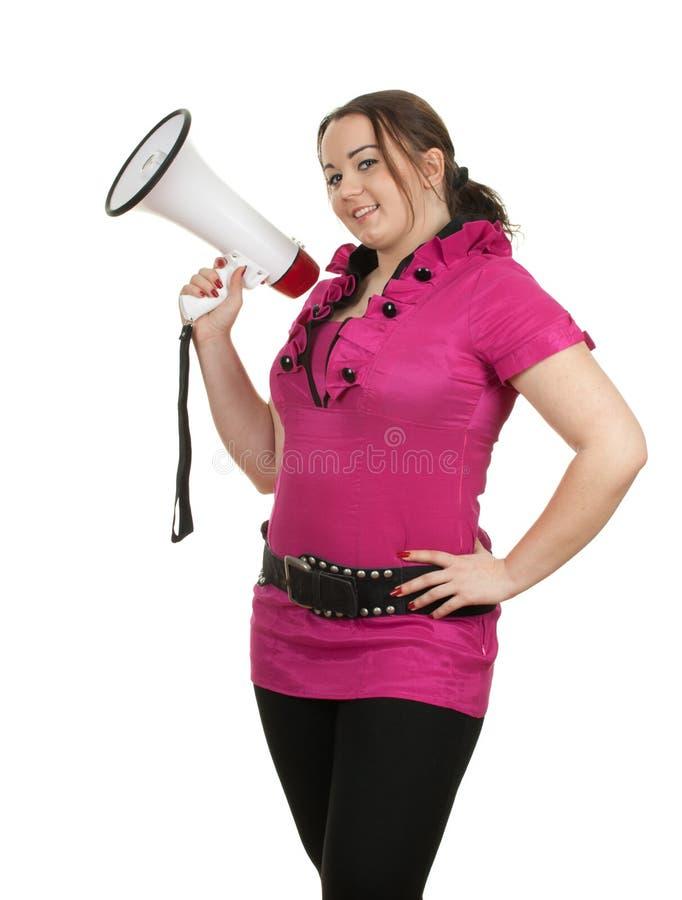Mulher gorda nova com megafone imagens de stock royalty free