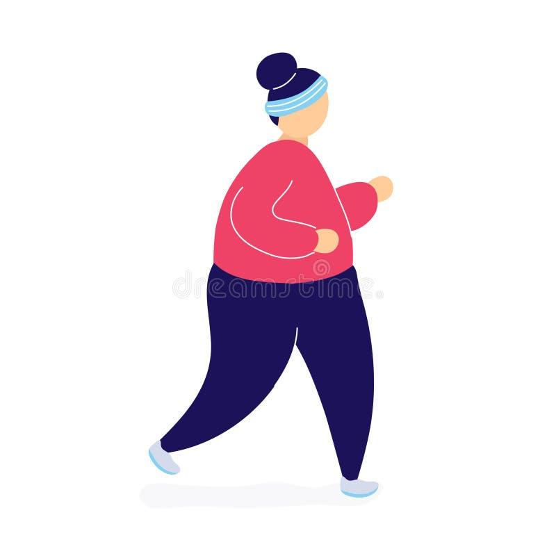 Mulher gorda que movimenta-se para perder o peso ilustração do vetor