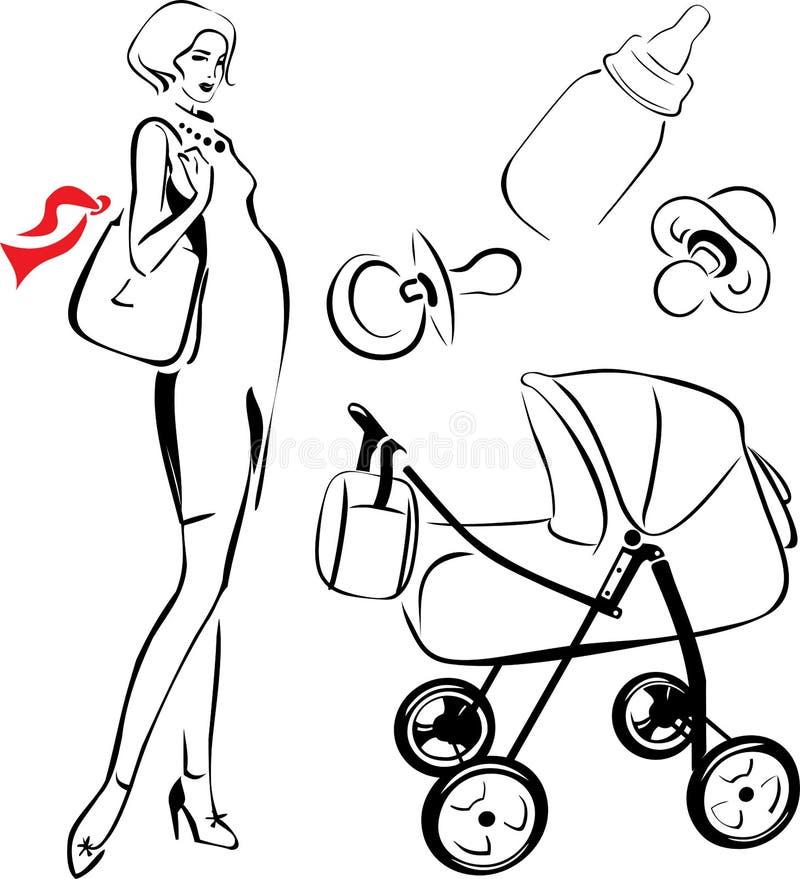 Mulher gravida ilustração do vetor