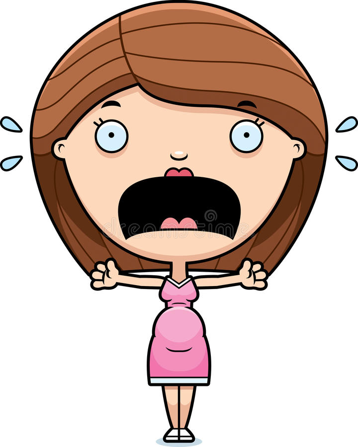Mulher gravida assustado dos desenhos animados ilustração stock