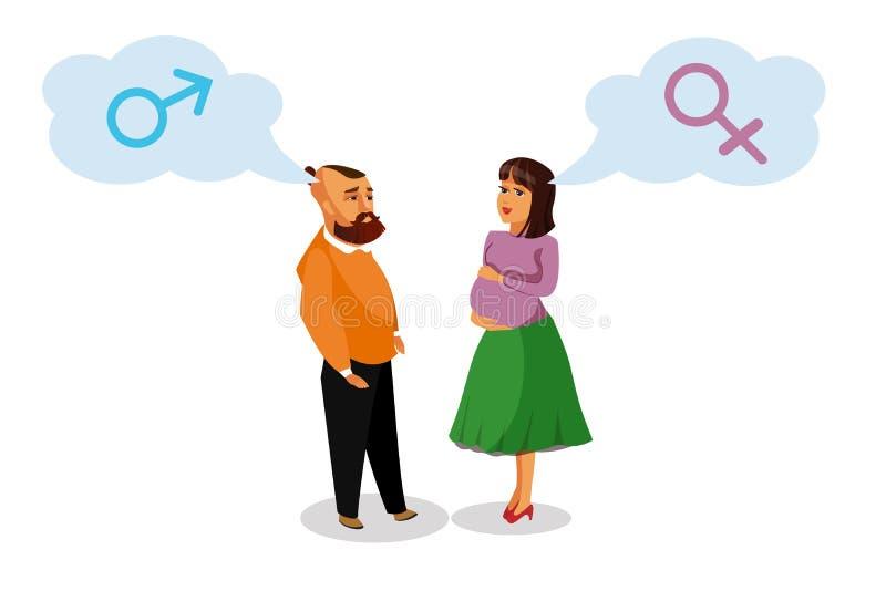 Mulher gravida com elemento do projeto do vetor do marido ilustração royalty free
