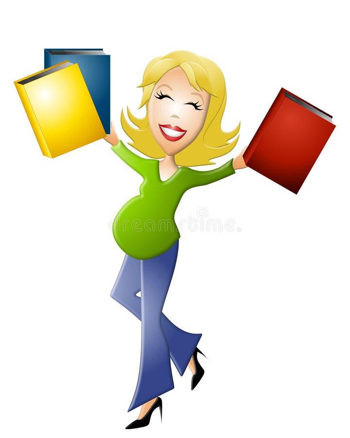 Mulher gravida com livros ilustração stock