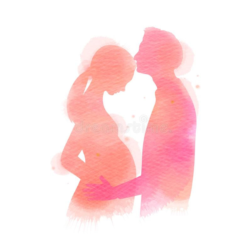 Mulher gravida com sua silhueta do marido mais a aquarela abstrata pintada Um homem que beija sua esposa Pintura da arte de Digit ilustração do vetor