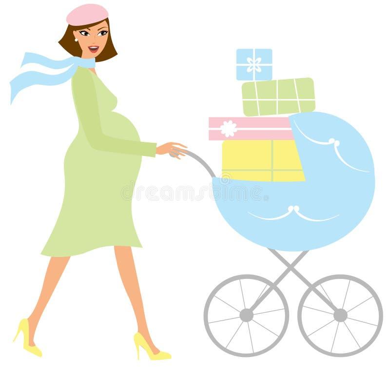 Mulher gravida com um carrinho de criança ilustração do vetor