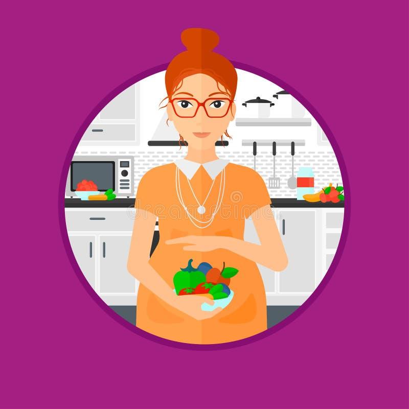 Mulher gravida com vegetais e frutos ilustração royalty free