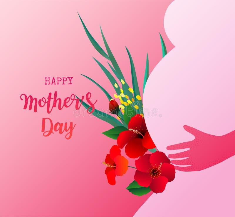 Mulher gravida da silhueta com flores e a planta tropicais no fundo cor-de-rosa Dia feliz do `s da matriz ilustração do vetor
