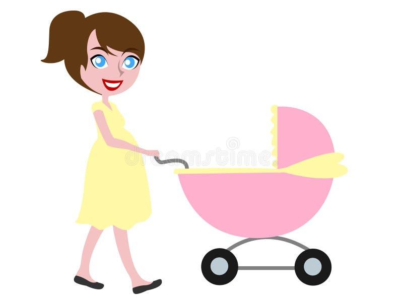 Mulher gravida de cabelo de Brown que empurra o carrinho ilustração stock