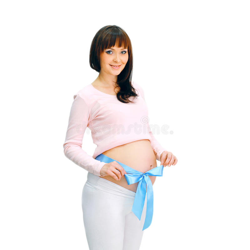 Mulher gravida de sorriso feliz imagem de stock