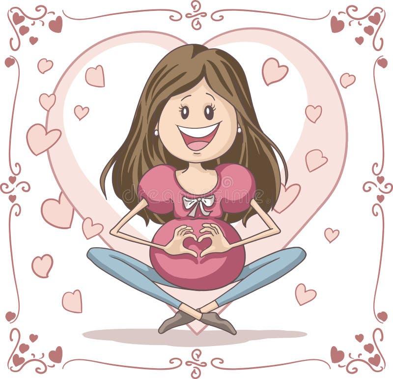 Mulher gravida - desenhos animados do vetor ilustração stock